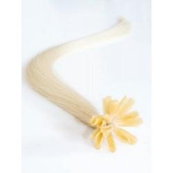 Vlasy evropského typu k prodlužování keratinem 50cm - platinové