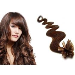 Vlnité vlasy evropského typu k prodlužování keratinem 50cm - středně hnědé