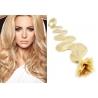 Vlnité vlasy evropského typu k prodlužování keratinem 50cm - nejsvětlejší blond