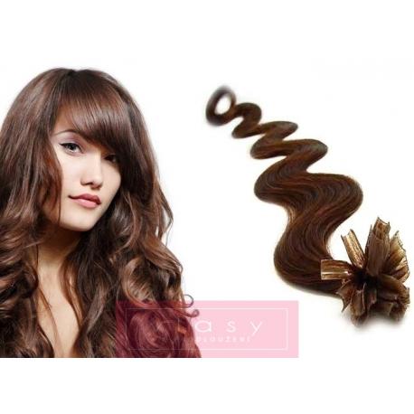 Vlnité vlasy evropského typu k prodlužování keratinem 60cm - středně hnědé