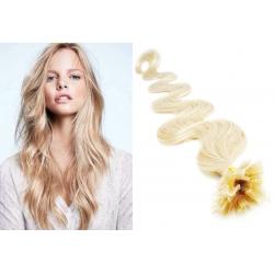 Vlnité vlasy evropského typu k prodlužování keratinem 60cm - platina