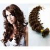 Kudrnaté vlasy evropského typu k prodlužování keratinem 50cm - středně hnědé