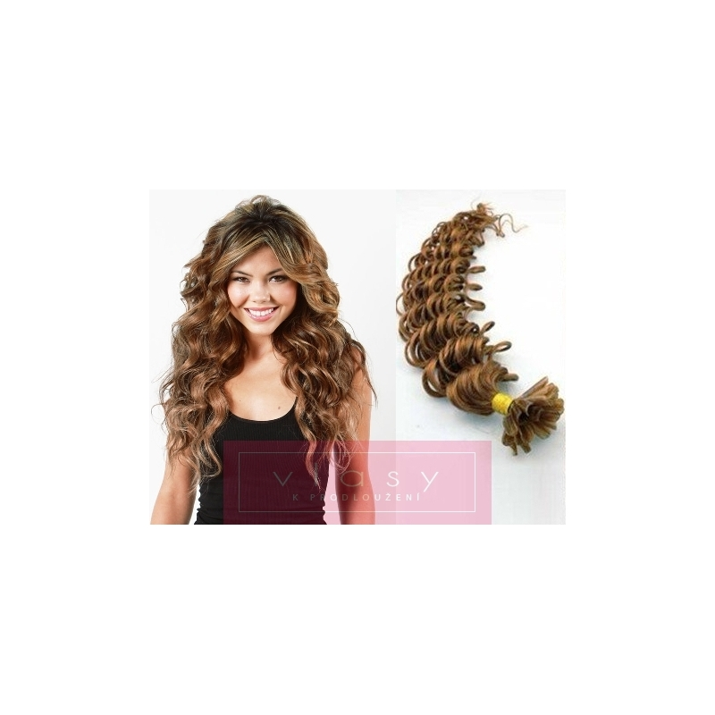 Kudrnaté vlasy evropského typu k prodlužování keratinem 50cm - světle hnědé 31562e82097