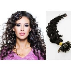 Kudrnaté vlasy evropského typu k prodlužování keratinem 60cm - černé