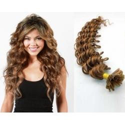 Kudrnaté vlasy evropského typu k prodlužování keratinem 60cm - světle hnědé
