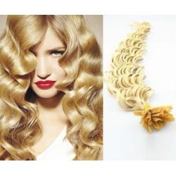 Kudrnaté vlasy evropského typu k prodlužování keratinem 60cm - nejsvětlejší blond