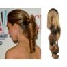 Clip in příčesek culík/cop 100% lidské vlasy 50cm vlnitý - světle hnědý