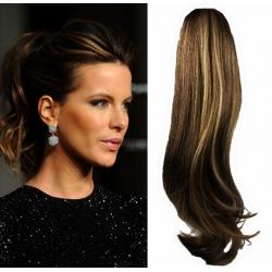 Clip in příčesek culík/cop 100% lidské vlasy 50cm vlnitý - tmavý melír